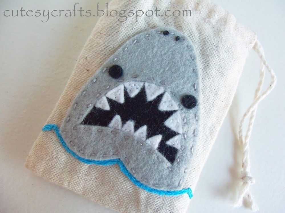 Muslin Tooth Fairy Bags with Shark Embroidery Pattern
