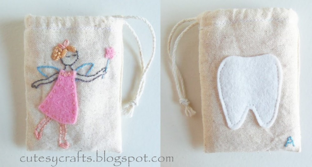 Muslin Tooth Fairy Bags with Fairy Embroidery Pattern