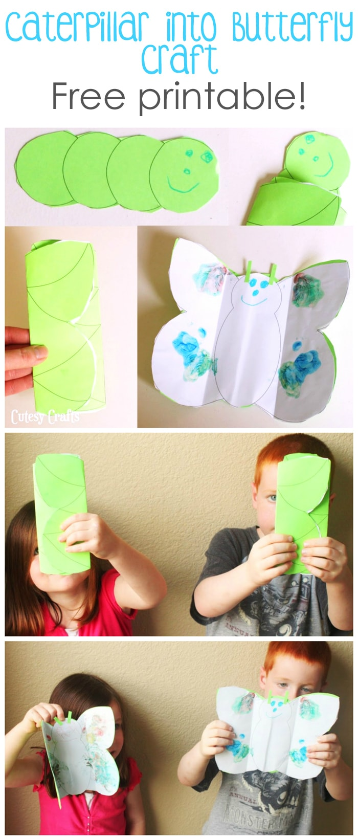Caterpillar into Butterfly Craft for Kids - Cutesy Crafts