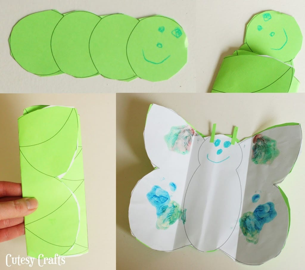 Caterpillar into butterfly craft for kids cutesy crafts for Butterfly art and craft