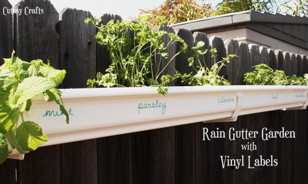 Rain gutter herb garden with vinyl labels.