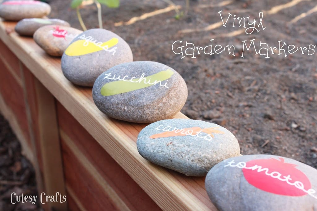 Vinyl DIY Garden Markers with Free Silhouette Cut File - Cutesy Crafts