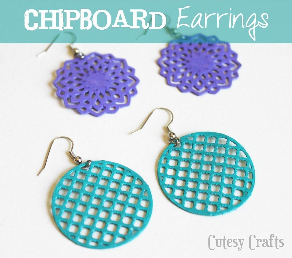 Chipboard earrings cutesy crafts