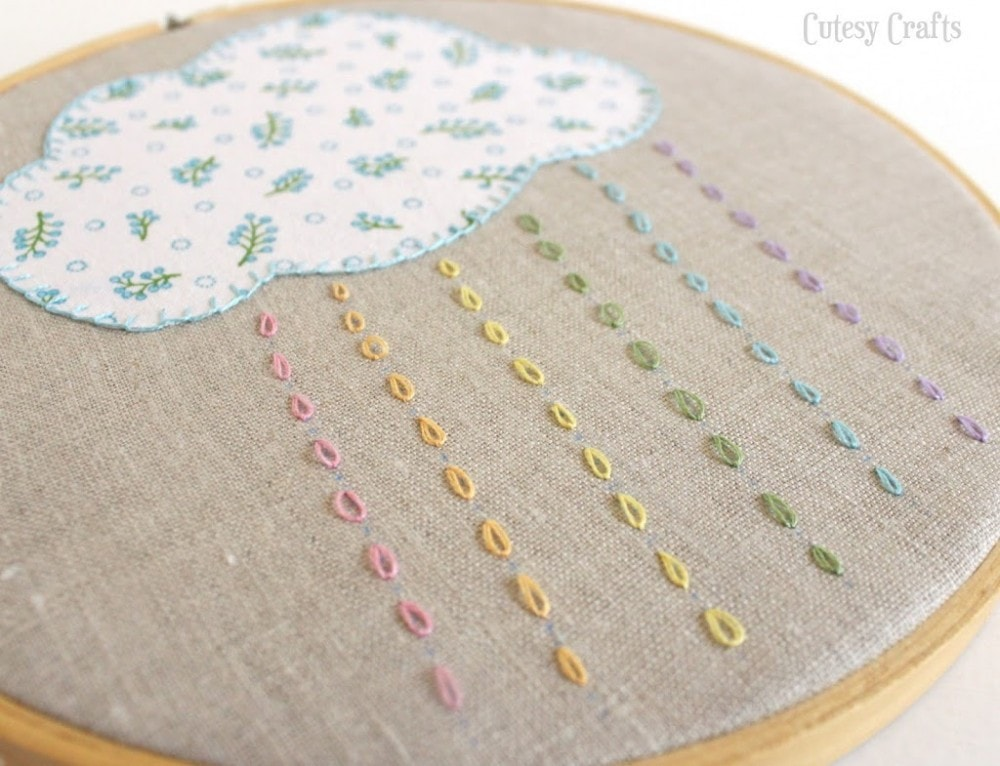 Free Embroidery Hoop Art Patterns - cloud with rain