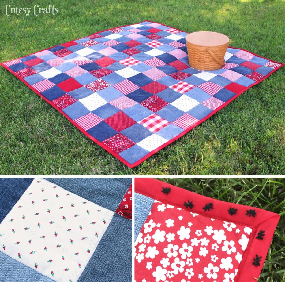 Diy Picnic Quilt From Old Jeans Cutesy Crafts