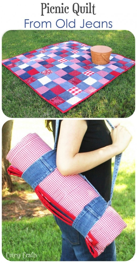 """""""DIY Picnic Quilt from Old Jeans"""" a Free Picnic Quilt Pattern designed by Jessica from Cutesy Crafts"""