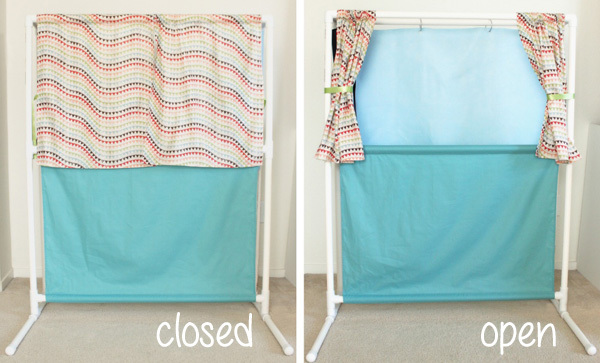 PVC Puppet Theater with felt backdrop and velcro scenery!