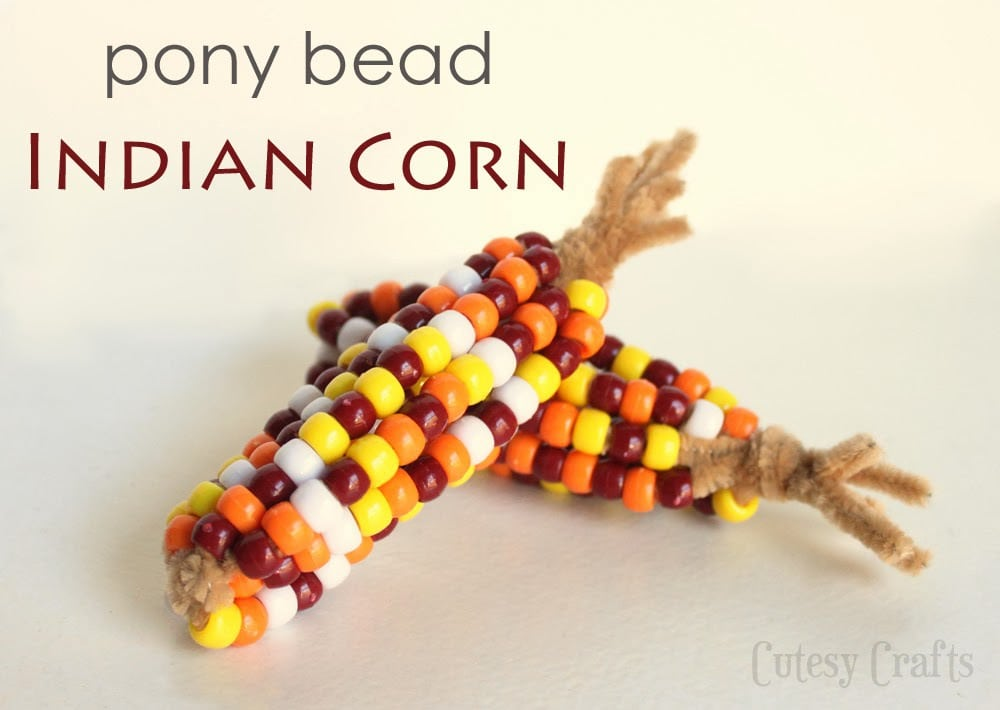 photo about Pony Bead Patterns Free Printable named Thanksgiving Craft: Pony Bead Indian Corn - Cutesy Crafts