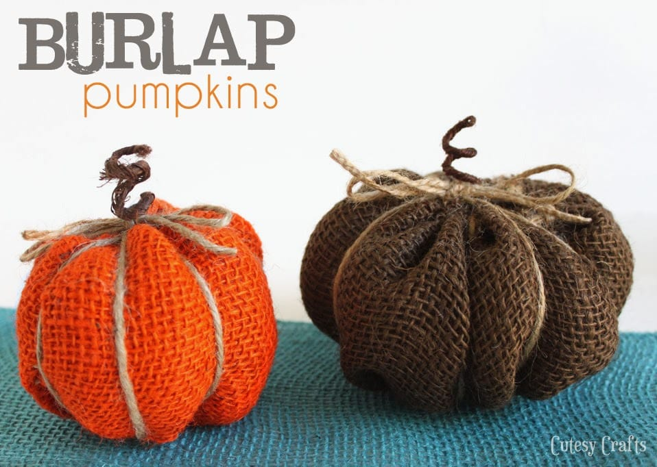 Burlap pumpkins cutesy crafts for Crafts made with burlap