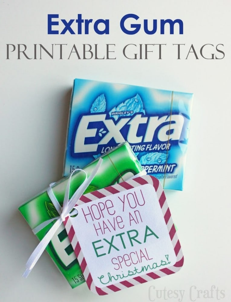 Extra Gum Printable Gift Tags for Christmas