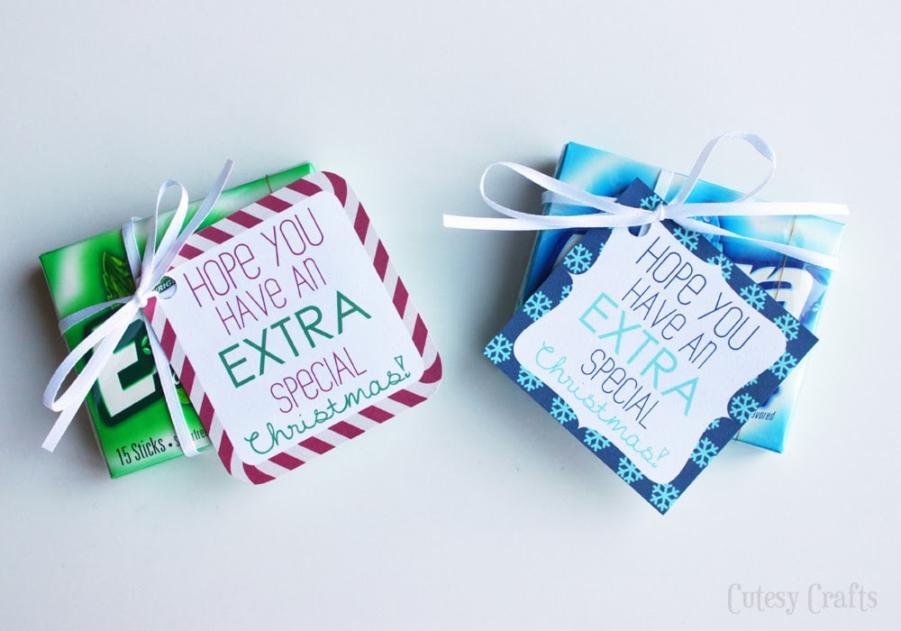 photograph relating to Extra Gum Valentine Printable referred to as Excess Gum Printable Reward Tags for Xmas - Cutesy Crafts