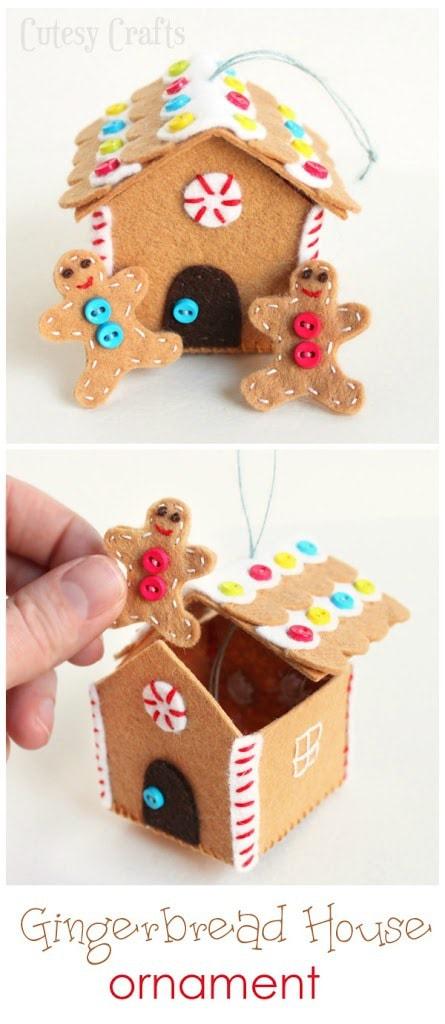 Felt Gingerbread House Ornament - Cutesy Crafts