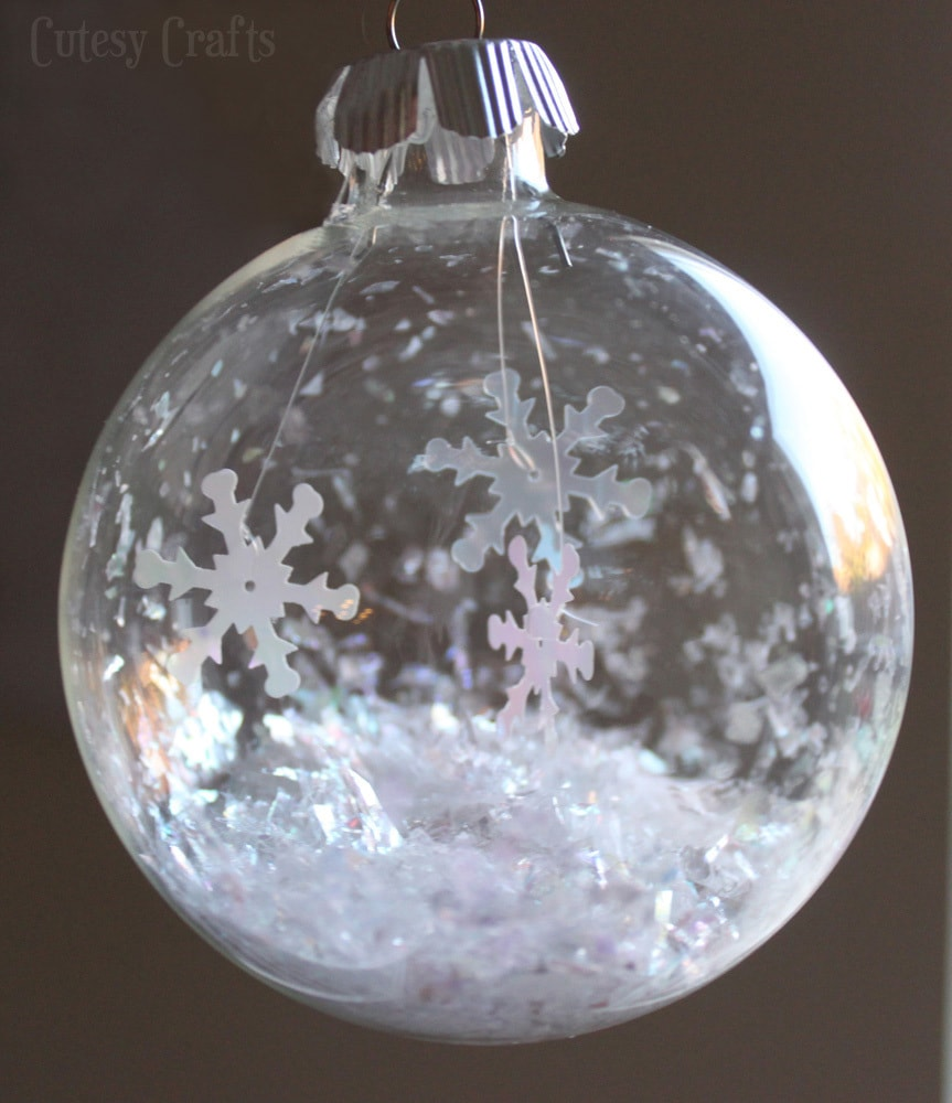 Glass globe ornaments - I Used The Same Glittery Fake Snow That I Used For My Snow Globe Ornament Just Fill It Up To The Desired Level It Helps To Make A Funnel Out Of Some