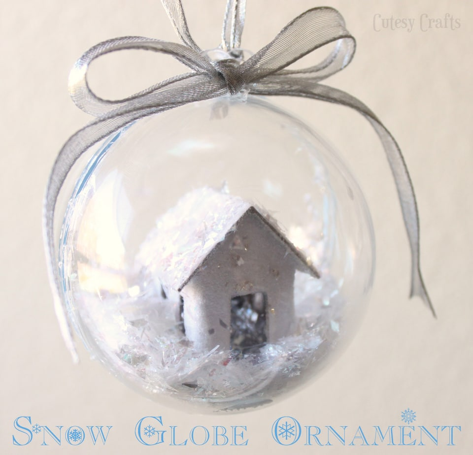 Christmas Ornament Craft Clear Balls : Snow globe christmas ornament cutesy crafts