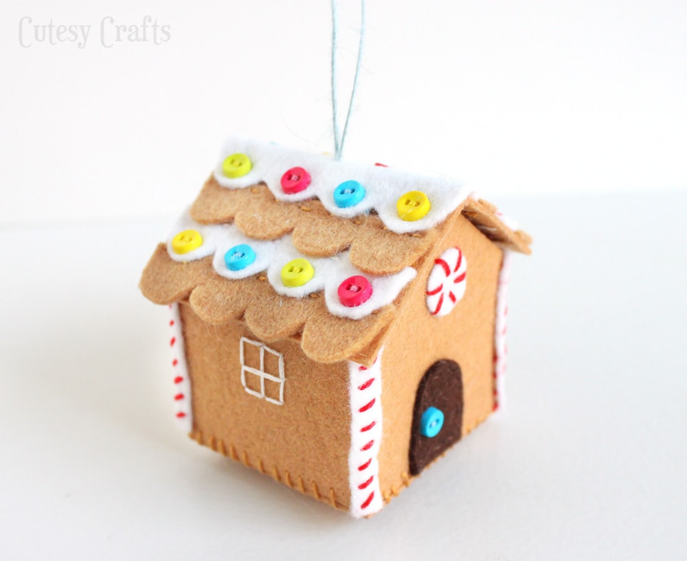 Felt gingerbread house ornament cutesy crafts but wait solutioingenieria Image collections