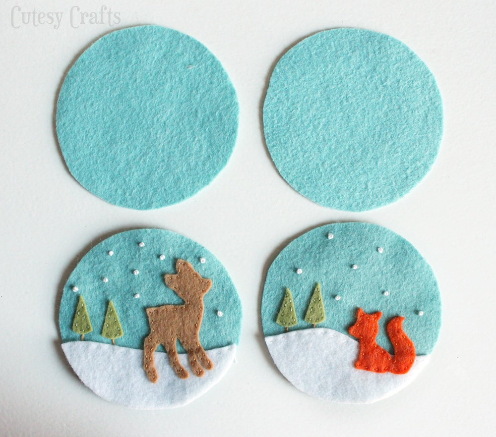 Christmas felt ornaments - Deer And Fox Felt Christmas Ornaments With Free Patterns