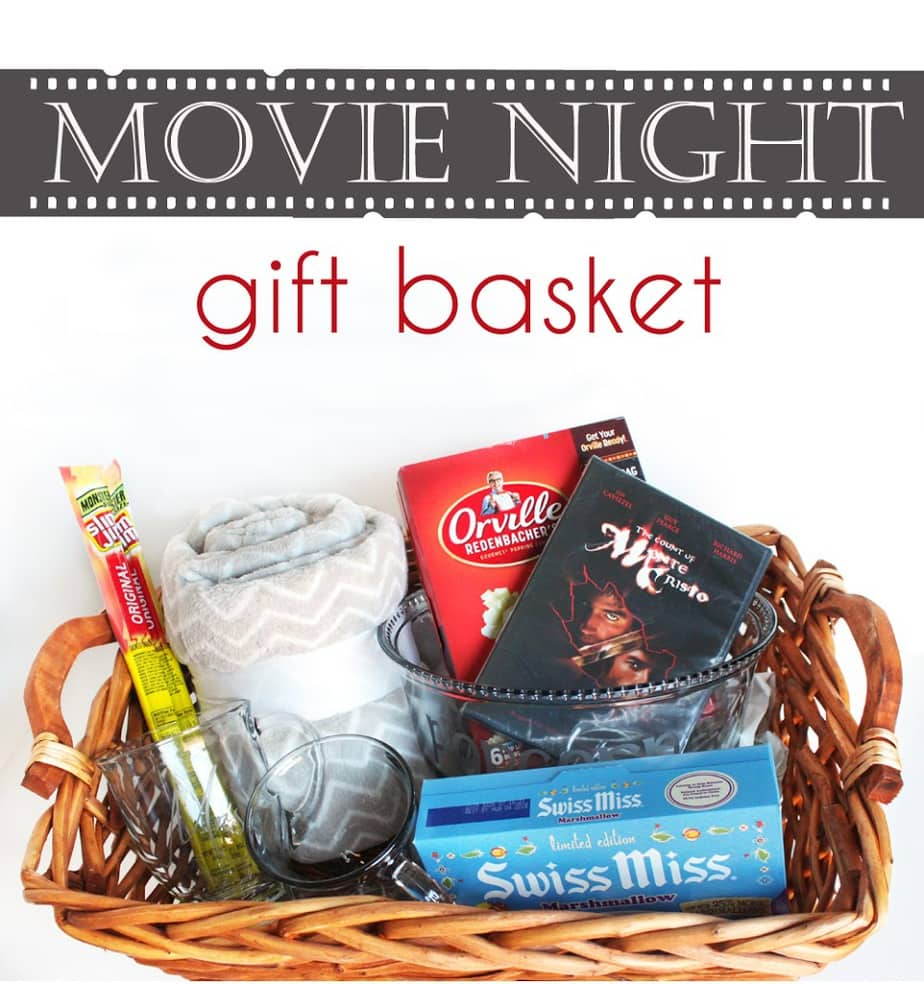 Hot chocolate and popcorn movie night gift basket cutesy for Homemade christmas gift baskets for couples