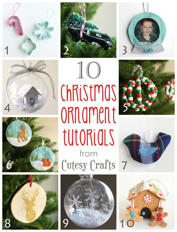 10 Handmade Chrismtas Ornament Tutorials from Cutesy Crafts