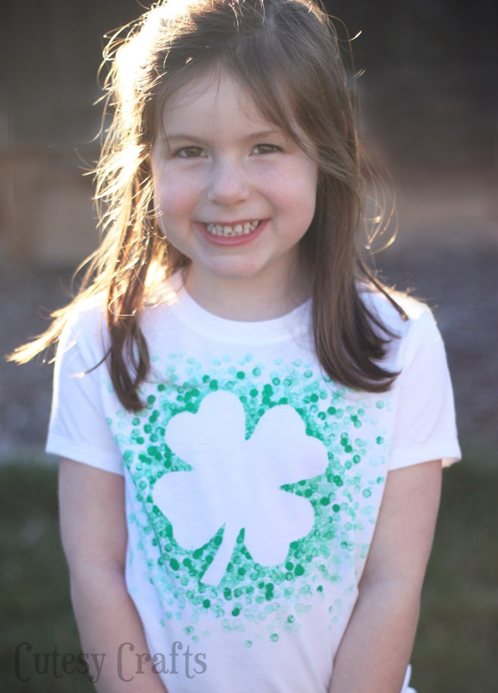 Eraser-Stamped DIY St. Patrick's Day Shirt