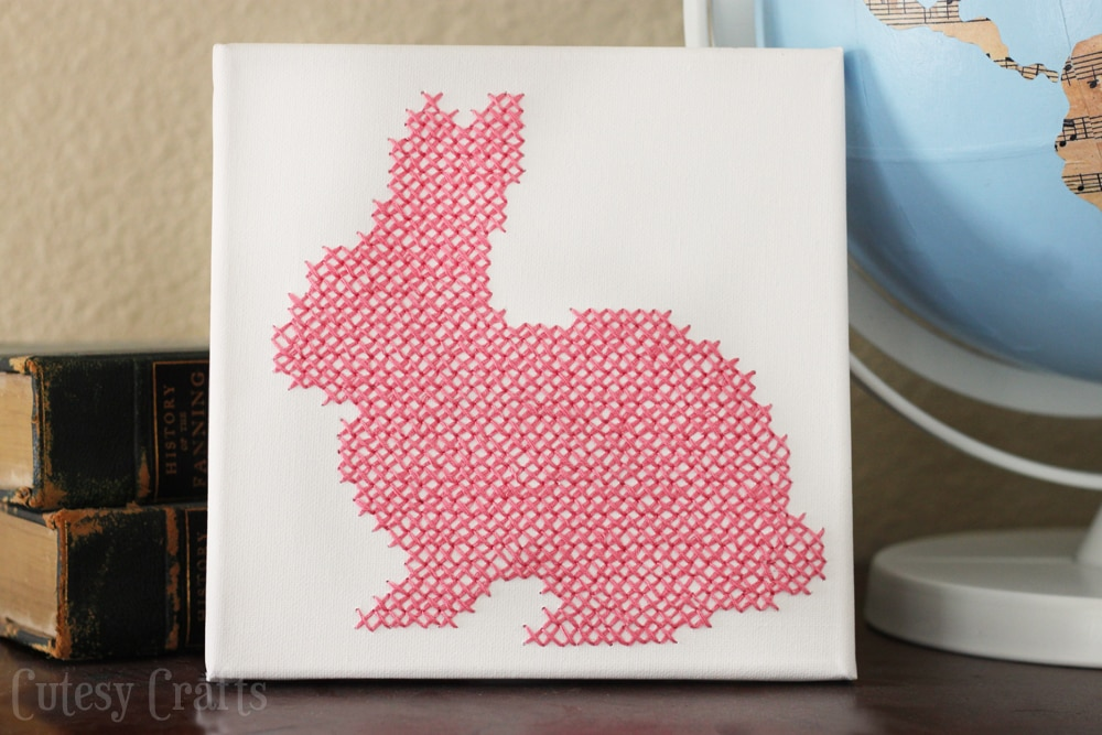 Cross stitch bunny canvas cutesy crafts Make your own bunny house