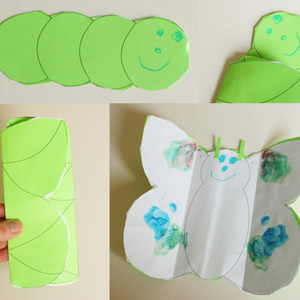 Caterpillar into Butterfly Craft for Kids