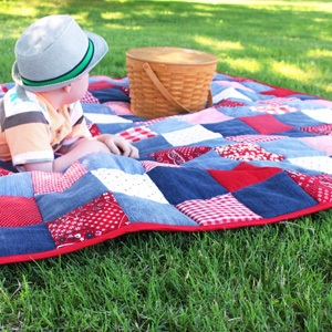 DIY Picnic Quilt from Old Jeans