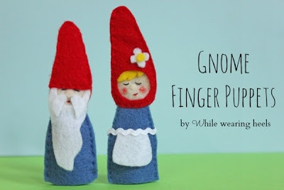 Felt Gnome Finger Puppets from While Wearing Heals