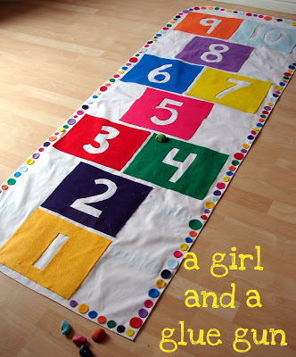 Hop Scotch Mat from A Girl and Glue Gun