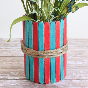 Popsicle Stick Vases – 4th of July Craft for Kids