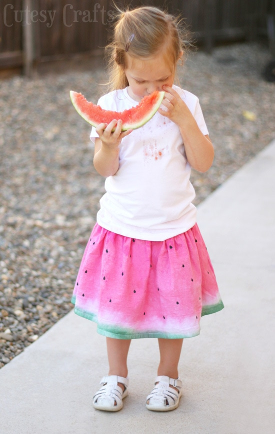 Dip Dye Watermelon Skirt - Made from a flour sack tea towel!