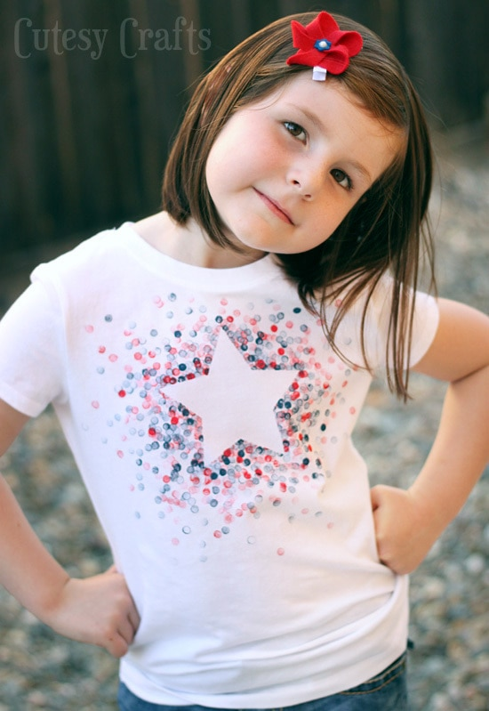DIY Eraser-Stamped 4th of July Shirt - Made with Freezer Paper and a pencil eraser!