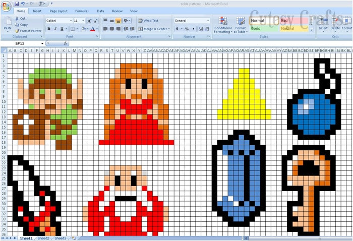 Make Perler Bead Patterns using Excel