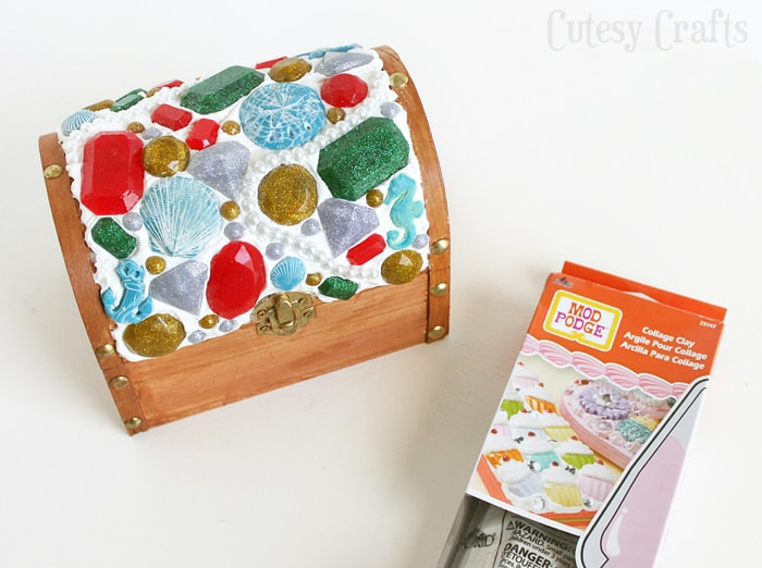 Decoden Treasure Chest - Decorated with Mod Podge Collage Clay and Mod Melts #plaidcrafts #modpodge #sponsored