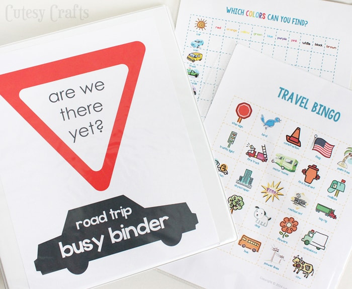 photo relating to Free Printable Road Trip Games named Active Binder with Printable Street Vacation Online games - Cutesy Crafts