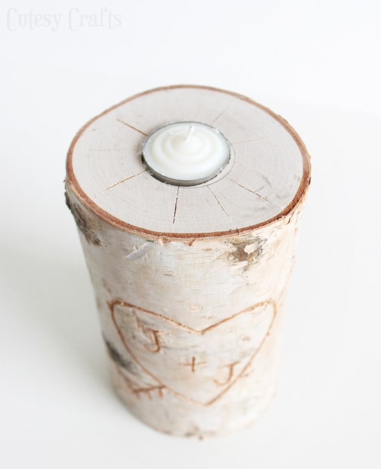 DIY candle holder made from a birch pillar.