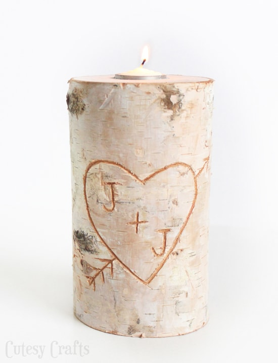 DIY candle holder made from a birch pillar.