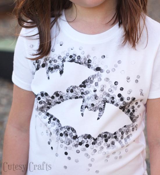 Eraser-Stamped Halloween Shirt - Made with Freezer Paper and a pencil eraser!