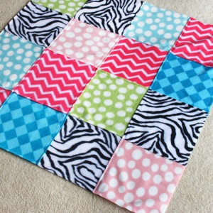 make fleece blanket from scraps
