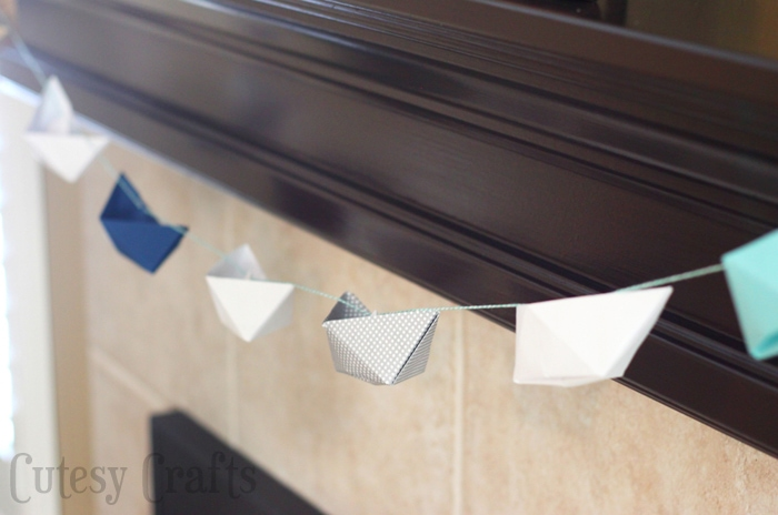 Paper Boat Garland for a nautical baby shower!
