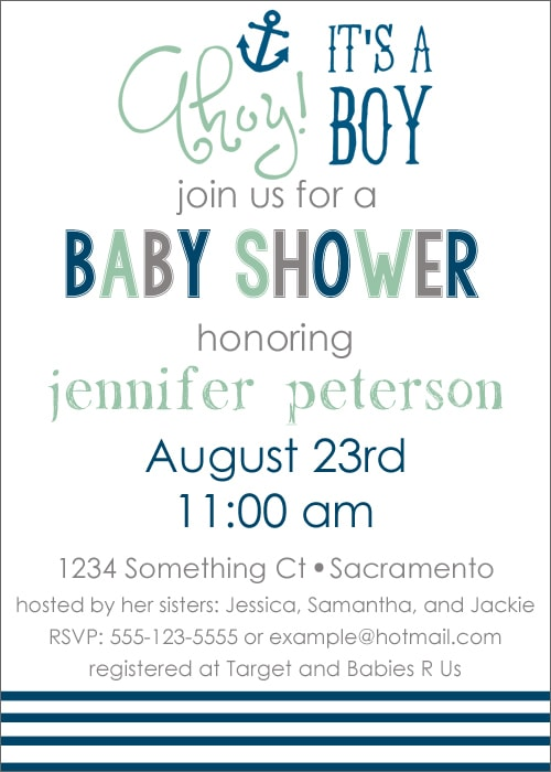 Free Printable Nautical Baby Shower Invite