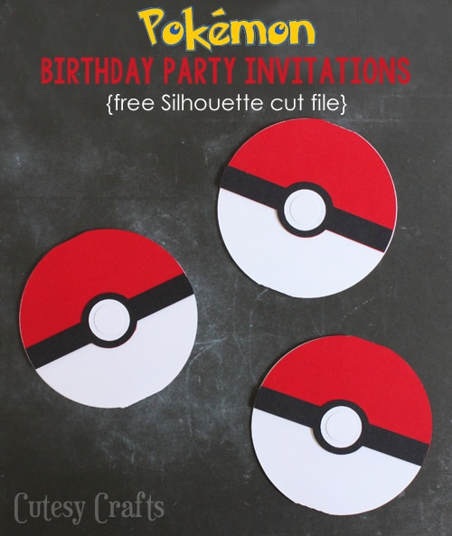 Pokemon Birthday Party Invitations - Free Silhouette cut file OR pdf printable!