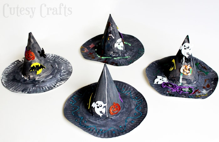 Halloween Craft for Kids - Paper Plate Witch Hats