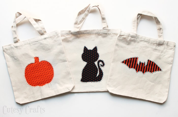 applique diy trick or treat bags cutesy crafts