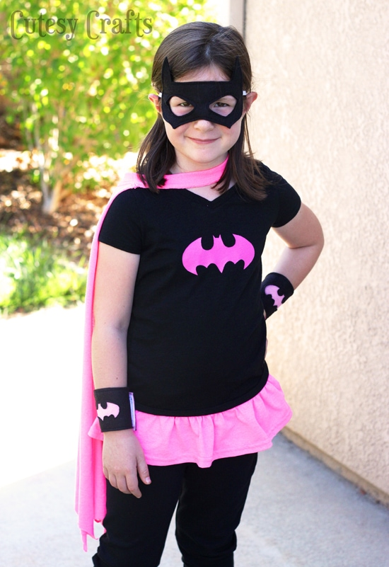 Diy batgirl costume from a t shirt cutesy crafts diy batgirl costume from a kids shirt and adult shirt solutioingenieria Choice Image