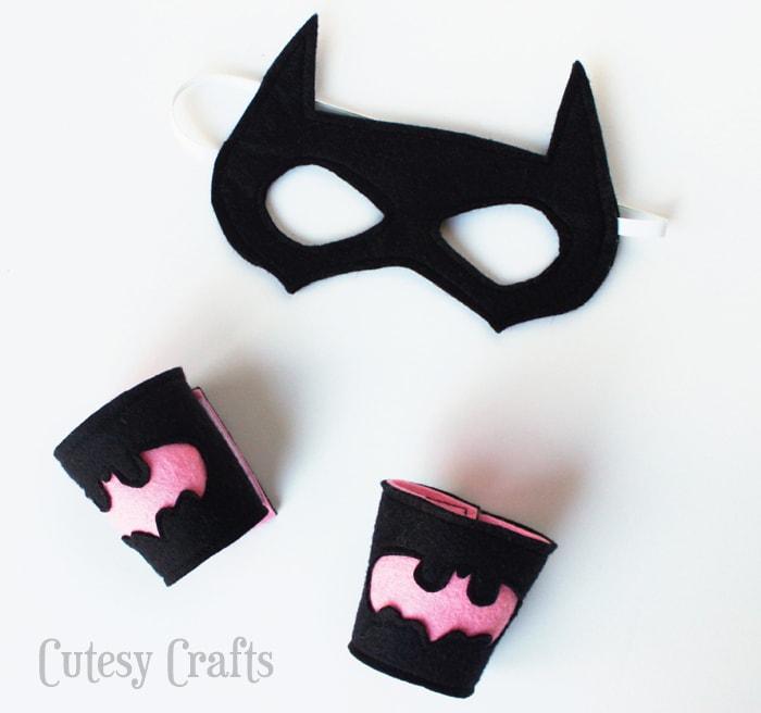 photograph about Batgirl Mask Printable named Felt Batgirl or Batman Superhero Cuffs - Cutesy Crafts