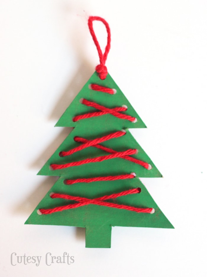 Christmas Craft for Kids - Lacing Ornaments - Cutesy Crafts