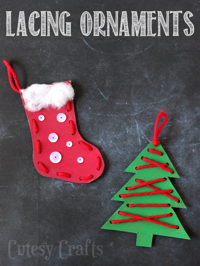 christmas craft for kids lacing ornaments