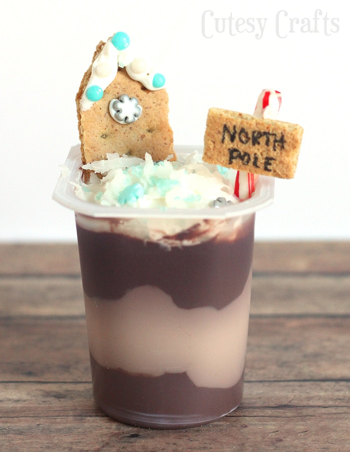 Christmas Treats - North Pole Pudding Cups #SnackPackMixIns #ad