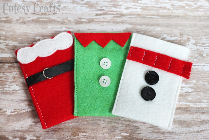 Felt Christmas Gift Card Holders Tutorial