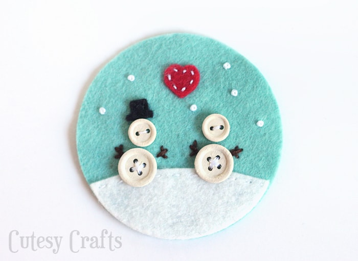Button and Felt DIY Christmas Ornaments
